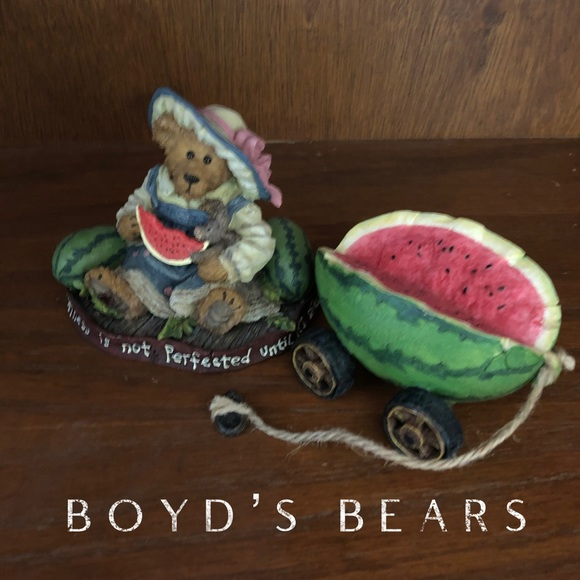 Boyd's Bears Other - 🐻Boyd's Bears Bear with Watermelon and 🍉 wagon